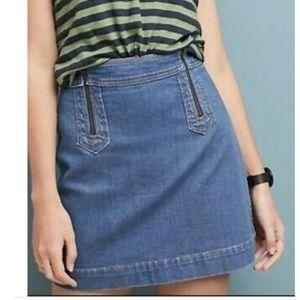 Anthropologie Sz 4 Denim Zipper Skirt